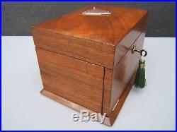 Terrific 19c Figured Walnut Antique Jewellery Box Fab Interior