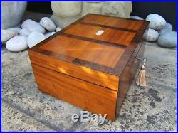 Terrific 19c Irish Inlaid Rosewood Antique Jewellery Box Fab Interior