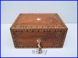 Terrific 19c Victorian Walnut Inlaid Antique Jewellery Box Fab Interior