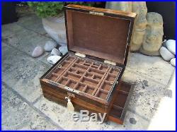 Terrific Early 19c Corromandel Antique Jewellery/vanity Box Fab Interior