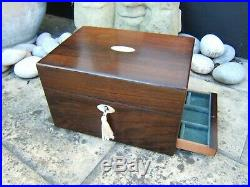 Terrific Early 19c Rosewood Antique Jewellery/vanity Box Fab Interior