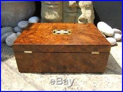 Terrific Large 19c Burr Walnut Antique Document/jewellery Box Fab Interior