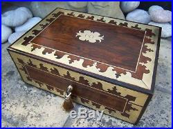Terrific Large 19c Early Rosewood Antique Document/jewellery Box Fab Interior