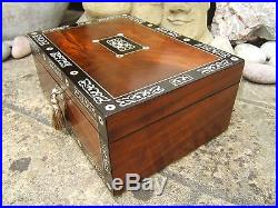 Terrific Large 19c Victorian Inlaid Antique Jewellery Box Fab Interior