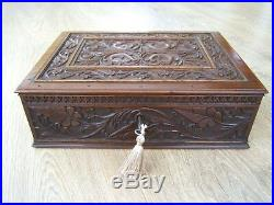 Terrific Rare 19c Anglo Indian Hand Carved Antique Jewellery Box Fab Interior