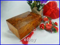 Thuya wooden jewelry box Gift, handmade red velvet Lined interior, burl wood