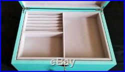 Tiffany Blue Large High Gloss, Blue Lacquer Jewelry Box, Organizer with Lock