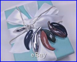 Tiffany & Co Frank Gehry 7 Fish Necklace Jade Onyx Wood Sterling Silver 16, Box