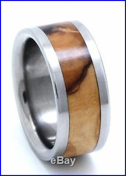 Titanium Ring With Bethlehem Olive Wood Inlay FREE Ring Box
