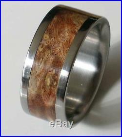 Titanium Ring With Brown Burl Wood Inlay FREE Ring Box