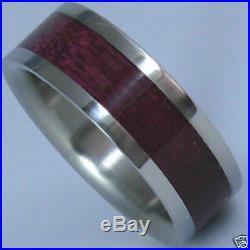 Titanium Ring With Purple Heart Wood Inlay FREE Ring Box