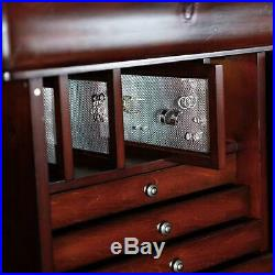 Traditional Freestanding Antique Walnut Locking Jewelry Armoire Storage Box
