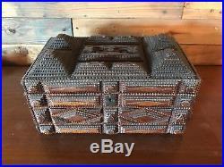 Tramp Art Original Antique Wood Box Jewelry Folk Art With Lid