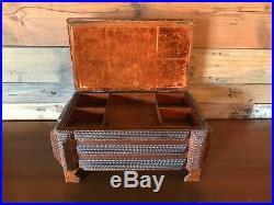 Tramp art Large Wood jewelry box Antique Hand Made Folk Art Vintage