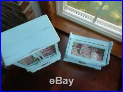 Two (2) vintage upcycled wood jewelry boxes shabby, chic distressed minty green
