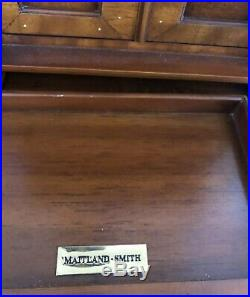 Unique Maitland Smith Unusual Jewelry Box Storage With Drawer, Doors, Marble Top