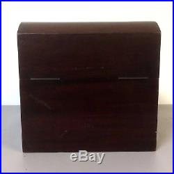 Unusual Antique Mahogany Valuable Jewelry Box With One Drawer & Original Key