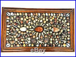 VICTORIAN Sailors Valentine Trinket Jewelry Seashell Oak Wood Box Shellwork Art