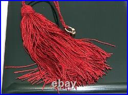 VINTAGE GUCCI LACQUER WOOD NECKLACE / TRINKET BOX With RED LONG SILK TASSEL EUC