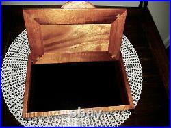 VINTAGE HANDCRAFTED HAWAIIAN CURLY KOA WOOD JEWELRY BOX 9.5 x 2.5 x 6 1/4