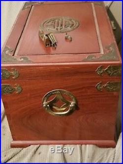 VINTAGE ORIENTAL WOOD BRASS BOUND two drawer locking JEWELRY BOX 15 X 10 X 10