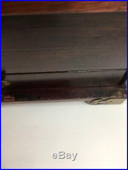 VINTAGE ORIENTAL WOOD BRASS FOUR DRAWER With MIRROR JEWELRY BOX 14 X 9 3/4 X 9