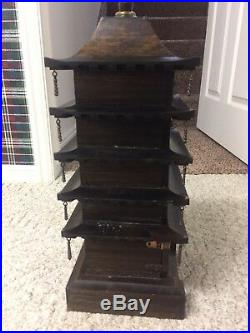 VTG JAPANESE PAGODA JEWELRY BOX JAPAN 2 FT Tall Solid Wood 5 Drawers