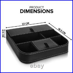 Valet Organiser 6 Compartment Wallet Leather Office Jewellery Storage Box Tray