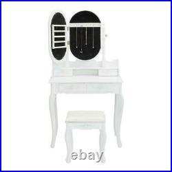 Vanity Makeup Dressing Table Set withStool Drawers Jewelry Mirror Cabinet Wood