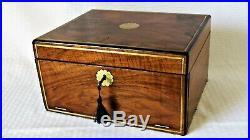 Victorian ANTIQUE BOX DOCUMENT / JEWELRY Figured Mahogany Door Brass Inlay