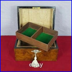 Victorian Burr Walnut Fitted Jewellery Box with Mother of Pearl Decoration