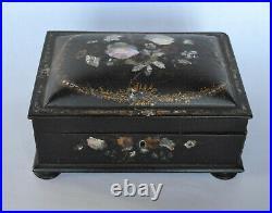 Victorian Lacquer Jewelry Box with MOP