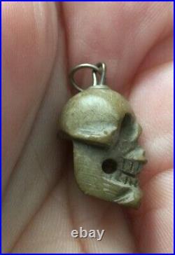 Victorian Skull Fob Momento Mori Lava Stone Rare & Wood Mini Coffin Box