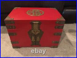 Vintage 14x10 Jewelry Box Lacquered Wood RED Chinese / Asian Engraved Brass
