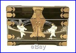 Vintage 14x9 Jewelry Box Lacquered Wood Black Chinese Mother-Of-Pearl Asian