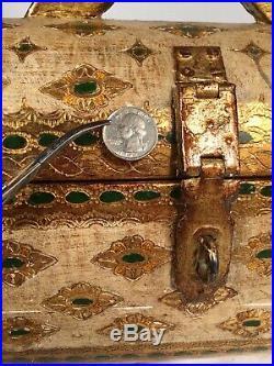 Vintage 16 Barrel Chest Italian Florentine Jewelry Box Keepsake Hinged Hasp