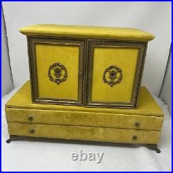 Vintage 1970's Large Mustard Yellow Velvet Jewelry Box Large 19 across