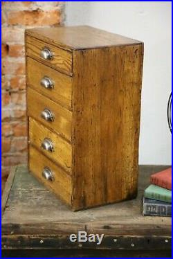 Vintage 5 Drawer Oak Cabinet Hardware store display Tool box jewelry Watches etc