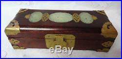 Vintage Antique Chinese Ornate Jade Golden Brass Wood Jewelry Box Nice