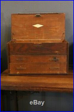 Vintage Antique Machinist Wood Tool Box Chest Cabinet Drawers Jewelry Box No Key