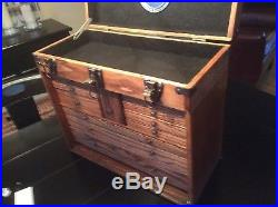 Vintage Antique Oak Wood Star Chest Machinist Tool Box 11 drawer jewelry