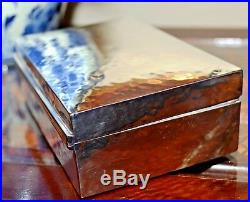 Vintage Antique Sterling Silver Hammered Jewellery Box With Wood Inlay