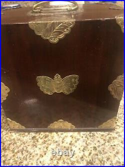 Vintage Antique Wood & Brass Asian Jewelry Box Case