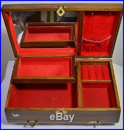 Vintage Asian Chinese Oriental Wooden Jade Inlay Jewelry Trinket Music Box