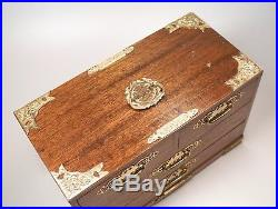 Vintage Asian Wood Jewelry Box Chest 4 Drawers Brass Accents 15 x 8 EUC