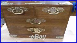 Vintage Asian Wood Jewelry Box Chest 4 Drawers Brass Accents 15 x 8 lock/ key