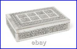 Vintage Burmese Paung Silver Repousse Wood Lined Jewellery / Cigar Box c1930