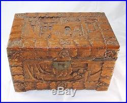 Vintage Chinese Deep Carved People Men Wooden Large Jewelry Trinket Box