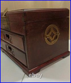 Vintage Chinese Huali Wood Rosewood Jewelry Box with Brass Accents Chest