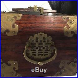 Vintage Chinese Oriental Carved Jade Brass Asian Wood Jewelry Trinket Box